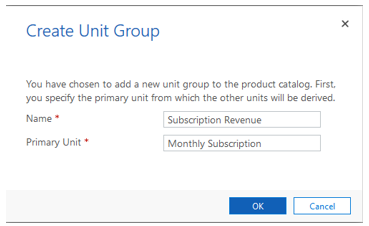 Create Unit Group