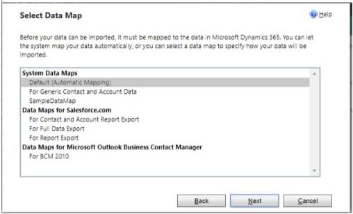 Select Data Map