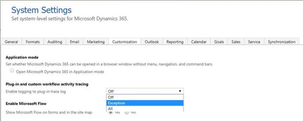 system setting for Dyn 365